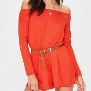 MISSGUIDED Jersey Bardot LS Playsuit Romper NWT 4